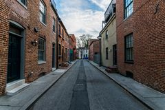 Cobblestone Roads in downtown historic Harbor East/ Fells Point, Baltimore Maryland stock photos
