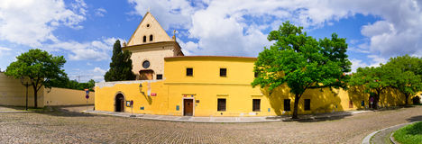 Cobblestone square near Capuchin monastery, Hradcany, Prague, Czech Republic Royalty Free Stock Photography