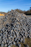 Cobblestone stored at a construction site Stock Images