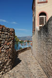 Cobblestone street. Old road in a country of sardinia Royalty Free Stock Photo