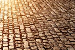 Cobblestone Street. Floor from Madrid, Spain stock photo
