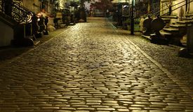 Cobblestone street. Image of paved road in Gdansk stock photo