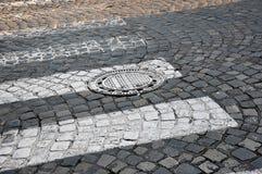 Cobblestone street. Background texture of cobblestone street stock photos