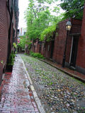 Cobblestone Street on Beacon Hill. In boston massachusetts, shows brick buildings, early american Royalty Free Stock Images