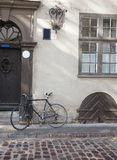 Cobblestone street with bicycle  medieval houses Riga Latvia Eur Stock Photo