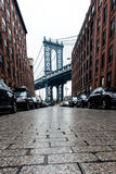 Cobblestone street in Brooklyn Royalty Free Stock Images