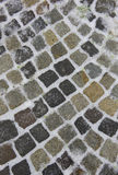Cobblestone street detail. In a winter day Royalty Free Stock Photos