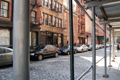 Cobblestone Street Downtown New York City Royalty Free Stock Image