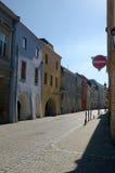 Cobblestone street in Hranice na Morav� Royalty Free Stock Photos