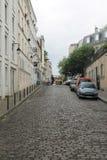 Cobblestone street, Montmartre, Paris, France Stock Image