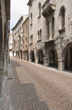 Cobblestone street and old houses Royalty Free Stock Photography
