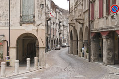 Cobblestone street and old houses Royalty Free Stock Photos