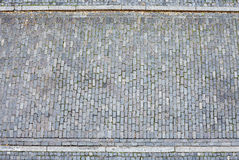 Cobblestone street and pavement from above Royalty Free Stock Photo