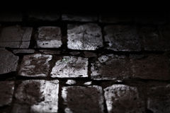 Cobblestone street pavement wet with rain, detail Royalty Free Stock Photo