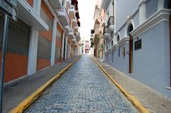 Cobblestone street in Puerto Rico Royalty Free Stock Photo