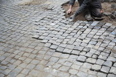 Cobblestone street repair Royalty Free Stock Photography
