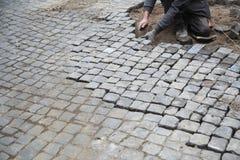 Cobblestone street repair Royalty Free Stock Photography
