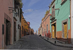 Cobblestone Street, San Miguel. Cobblestone street in the classic Spanish colonial mountain mining town of San Miguel de Allende, Mexico Stock Image