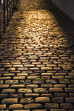 Cobblestone Street at Sunset Royalty Free Stock Images