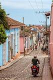 Cobblestone street in Trinidad, Cuba Royalty Free Stock Photo