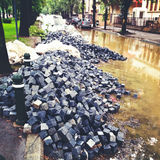 Cobblestone street under repair Stock Photography