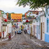 A cobblestone street in the Unesco world heritage site of Goias Royalty Free Stock Images