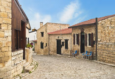 Cobblestone street of wine village in Cyprus Royalty Free Stock Image