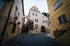 Cobblestone streets and old buildings in Malá Strana, in Prague Royalty Free Stock Photo