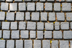 Cobblestone. A top view of cobblestone on footpath in grey tone, selective focus Stock Photos
