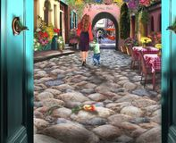 Cobblestone village with people and flowers royalty free illustration