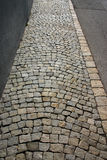 Cobblestone walk. Sidewalk in an old German town stock image
