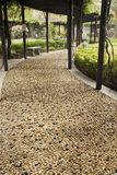 Cobblestone Walkway. In a garden Stock Image