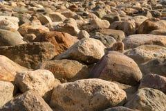 Cobblestone wall texture. Stone pattern. Round cobblestone. Background of stone wall Stock Photo