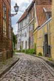 Cobblestoned street with colorful houses in Luneburg Royalty Free Stock Images
