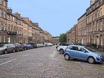 Cobblestoned  street  in Edinburgh Stock Photos