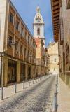 Cobblestoned street leading to the Santa Maria church in Xativa Stock Image