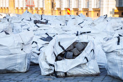 Cobblestones on the construction site Royalty Free Stock Photography