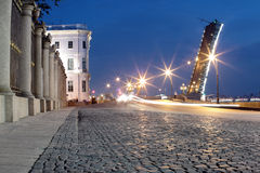 Cobblestones and a drawbridge. In a white night. Saint Petersburg. Russia Stock Photography