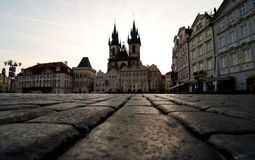 Cobblestones leading to the Church or Our Lady at Old Town Squar Stock Photography