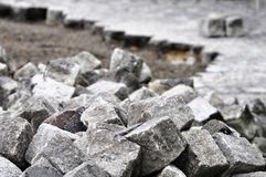 Cobblestones On A Construction Site Royalty Free Stock Photo