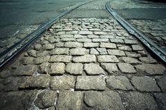 Cobblestones and Rails Royalty Free Stock Image