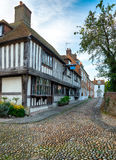 Cobblestones and Tudor Houses Stock Image