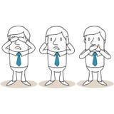 A coberta do homem de negócios dos desenhos animados eyes a boca das orelhas ilustração royalty free