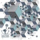 Coberta espacial colorida da estrutura 3d, fundo complicado da arte op com formas geométricas Fotografia de Stock