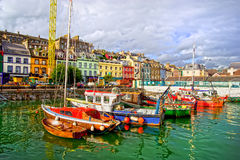 Cobh in Ireland. Picturesque scenery of the Cobh town harbour in Ireland, Cork County, HDR technique