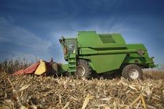 Cobine harvester. Combine harvesting corn at field Stock Image