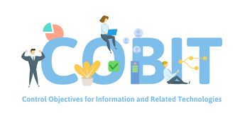 COBIT, Control Objectives for Information and Related Technologies. Concept with keywords, letters and icons. Flat. COBIT, Control Objectives for Information and vector illustration