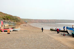 Coble landing, Filey, Yorkshire. Filey, Yorkshire, UK. May 12, 2017.  Taken from Coble landing looking towards the Yachting club and Carr Naze cliff at Filey in Stock Photos