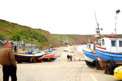 Coble landning, Filey, Yorkshire, UK. fotografering för bildbyråer