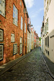 Cobled street of Lubeck Stock Photo